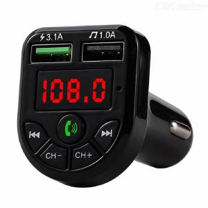 Quelima Dual USB Car Charger Bluetooth FM Transmitter V5.0 Vehicle 3.1A Fast Charging Mp3 Player Support TF