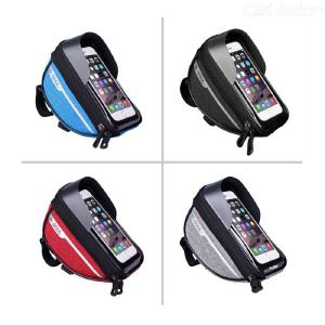 Bike Phone Front Frame Bag - Waterproof Bicycle Top Tube Cycling Phone Mount Pack with Touch Screen Sun Visor for iPhone Android