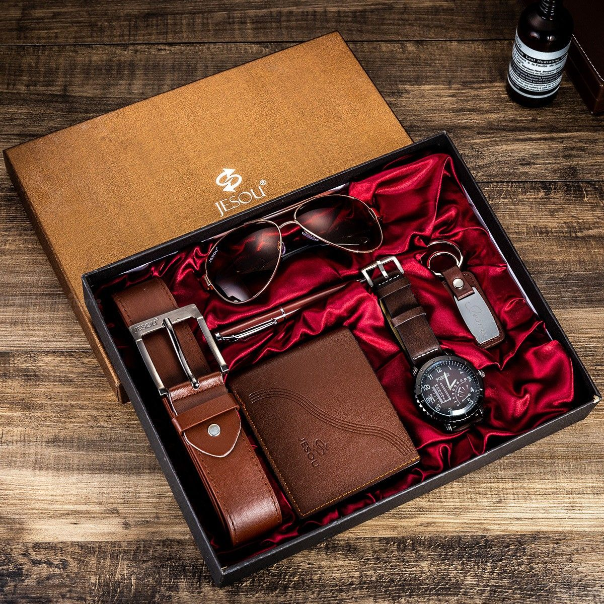 Mens Gifts Set With Quartz Watch, Sunglasses, Wallet, Belt, Tie, Pen, Keychain Festival Birthday Business Present Sets