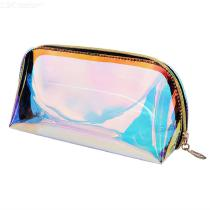 Holographic Makeup Bag, Clear Cosmetic Bag Organizer Large Capacity Iridescent Makeup Pouch Transparent Laser Toiletry Pouch