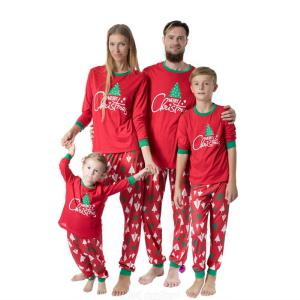 Matching Family Pajamas Christmas Print Cotton Sleepwear PJs Set For Adults Kids