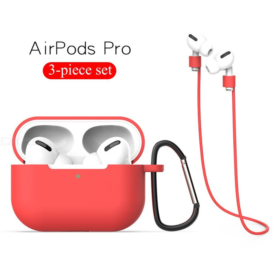 3in1 Accessories Set for Apple Airpods Pro Silicone Case with Hook / Hanging Lanyard
