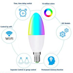 Smart WiFi E14 Dimmable 6W LED Candle Bulb Work With Amazon Alexa / Google Home