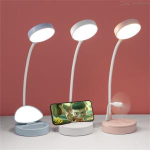 LED Desk Lamp Dimmable LED Eye-Caring Table Lamp With 3 Brightness Levels 3 Color Modes Phone Stand Mirror