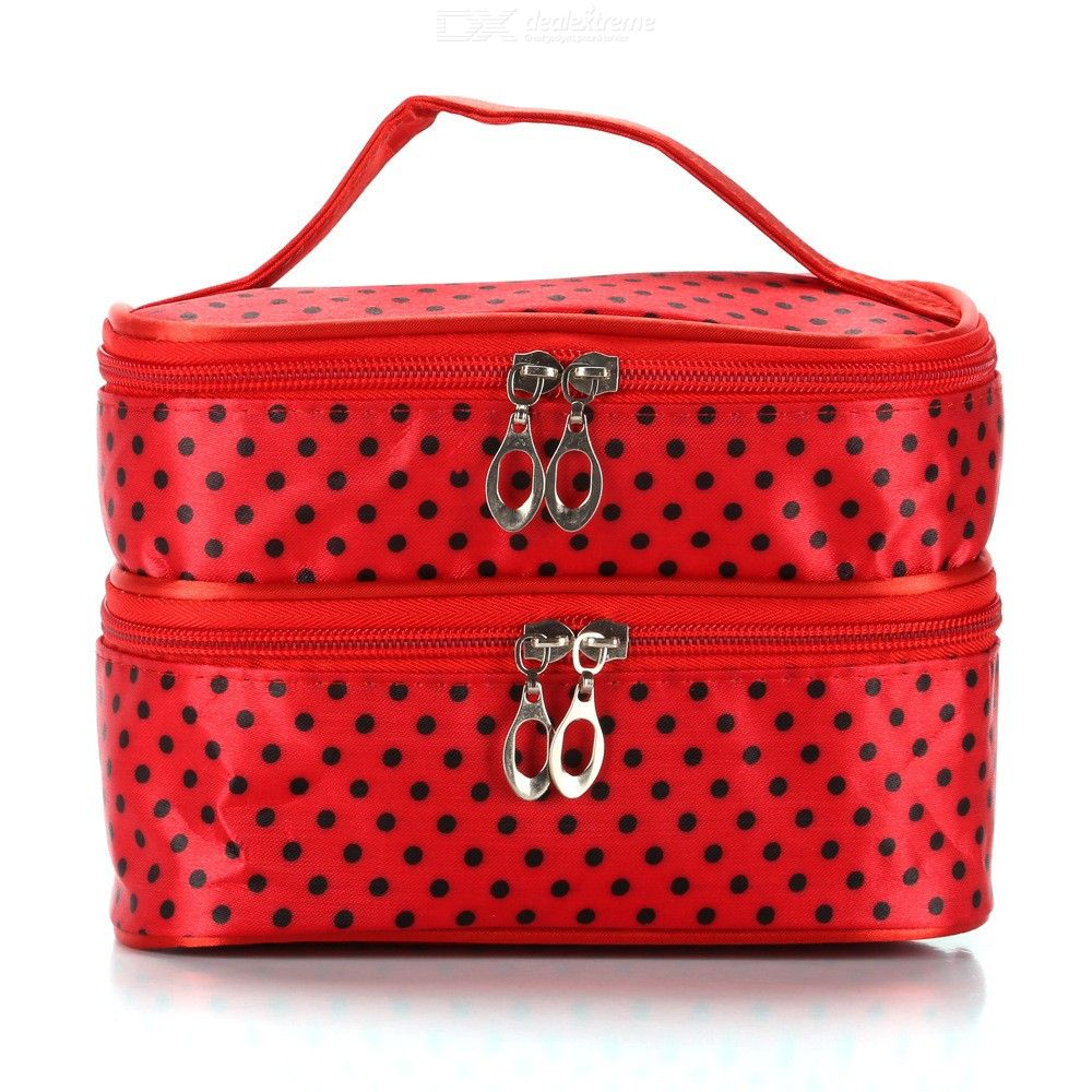 Waterproof | Organizer | Cosmetic | Portable | Travel | Double | Polka | Large | Women | Case | Dot | Bag