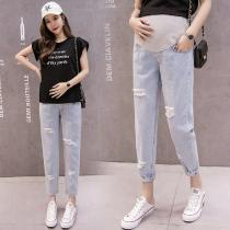 Pregnant-Women-Casual-Thin-Maternity-Belly-Work-Pants-Baggy-Jeans-For-Spring-Summer