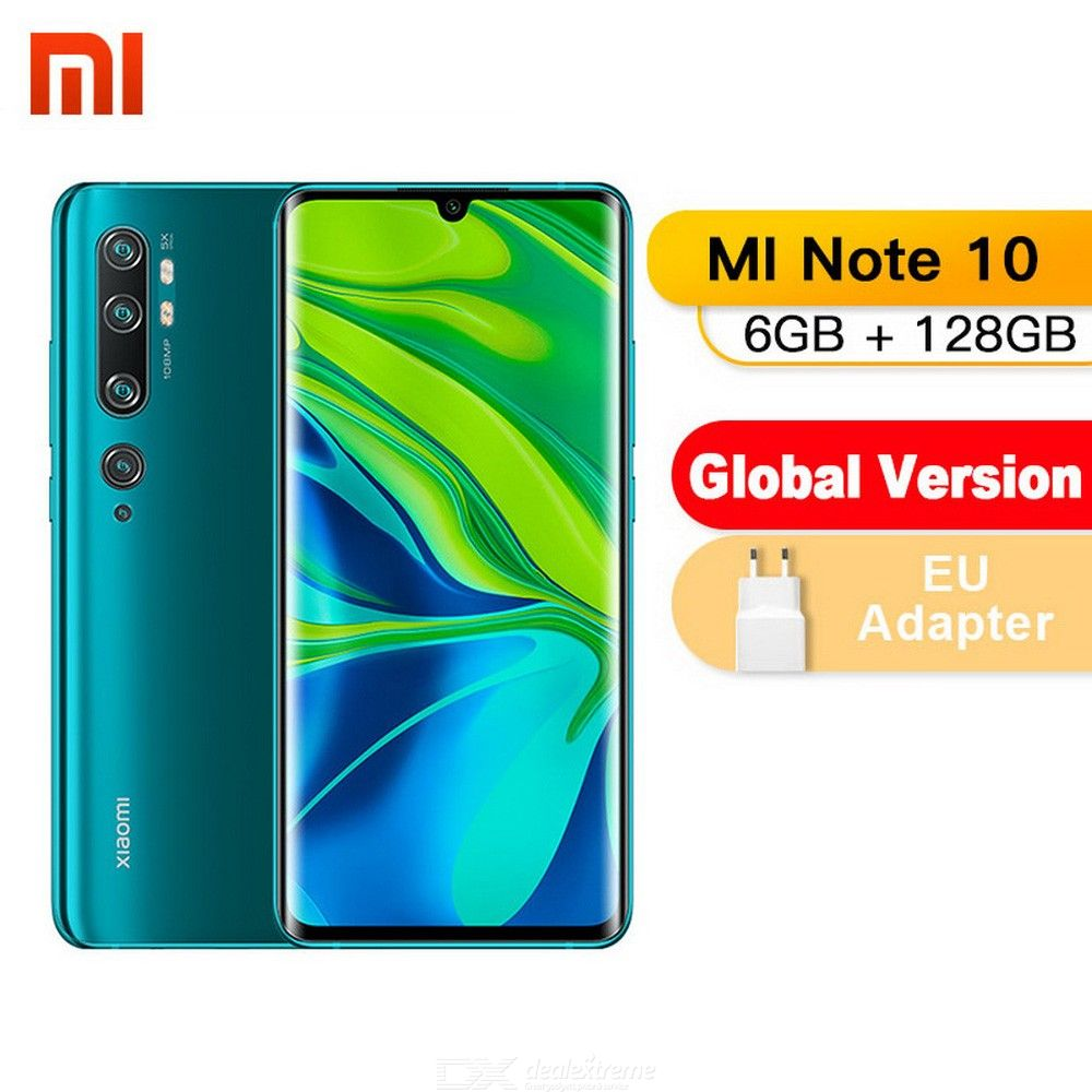 Global Version Xiaomi Note 10 108MP Penta Camera Smartphone With 6GB RAM 128GB ROM, 5260mAh Battery - EU Plug