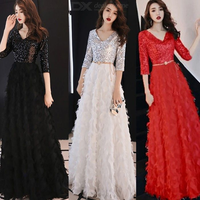 Women's Evening Gowns Noble Elegant Slim-fit Sequined High Waist V-neck Maxi Dresses For Cocktail Party Prom Banquet Wedding