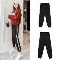Womens-Pregnancy-Casual-Athletic-Pants-Regular-Fit-Straight-Maternity-Trousers