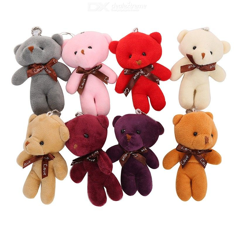 Cute Keyring Toy Plush Bear Pendants Decoration For Pouch Hand Bag Backpack Keychain Toy