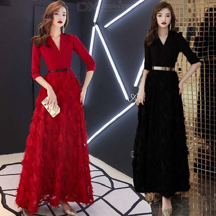 Women's Evening Gowns Noble Elegant Slim-fit High Waist V-neck Maxi Dresses For Cocktail Party Prom Banquet Toastmaster