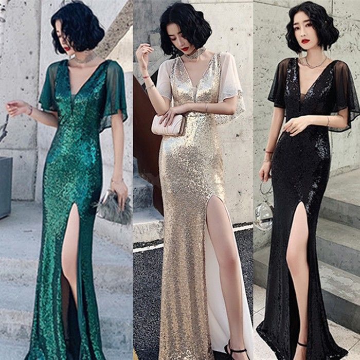 Women's Evening Gown Noble Elegant Sexy High Waist V-neck Split Maxi Dress Fishtail Dress For Cocktail Party Prom Banquet
