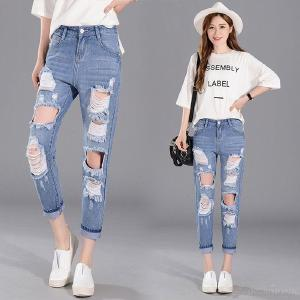Women's Ripped Jeans Summer Fashionable Mid-rise Ankle-Length Denim Jeans Harem Pants
