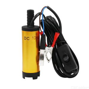 12V Aluminum Alloy Car Electric Submersible Pump Fuel Water Oil Barrel Pump with Two 38mm Alligator Clips