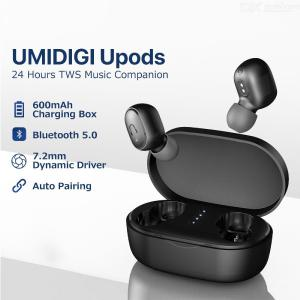 UMIDIGI Upods TWS Wireless Earbuds Bluetooth V5.0 Hifi Earphones Noise Reduction Clear Call With 600mAh Charging Case - Black