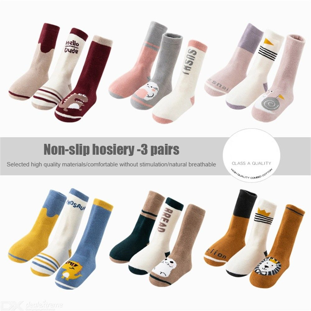 3 Pair Baby Cute Long Cotton Socks For Toddler Boys Girls Thicken Socks 0-3Y