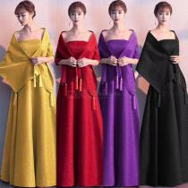 Romantic A-Line Maxi Strapless Bride Toast Dress With Shawl For Wedding Party Annual Meeting