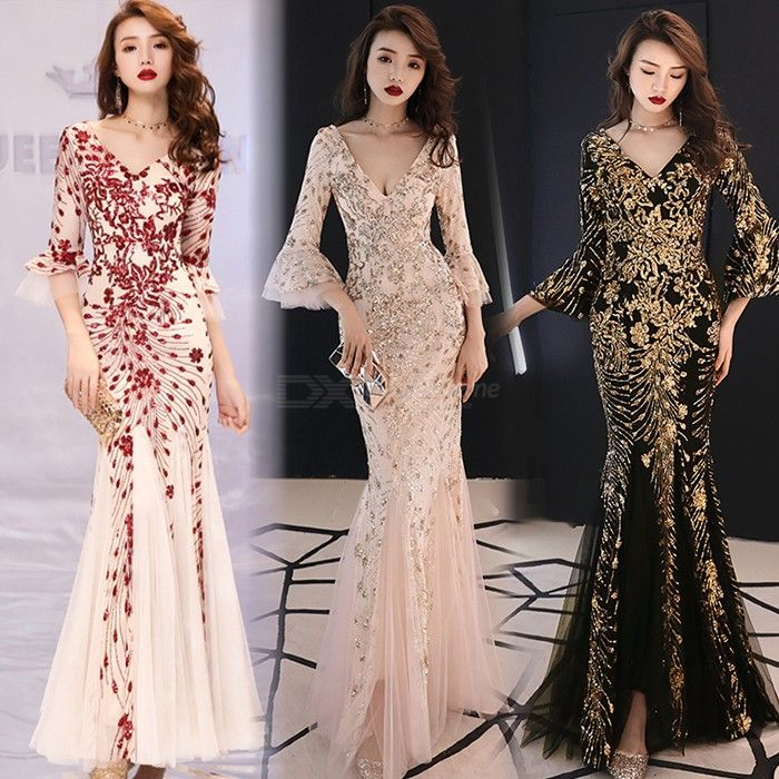 Women's Evening Gown Noble Elegant Slim-fit Sequined V-neck Flare Sleeve Maxi Dress Fishtail Dress For Party Prom Banquet