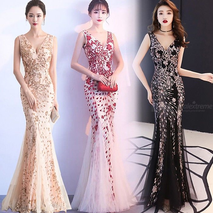 Women's Evening Gown Noble Elegant Slim-fit Sequined Low-cut Maxi Dress Fishtail Dress For Cocktail Party Prom Banquet