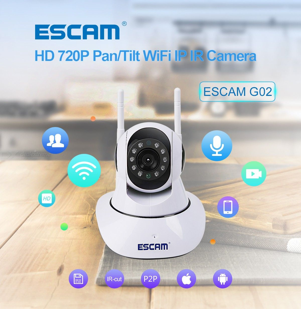 ESCAM G02 720P Indoor WiFi IP Camera, Support 128GB TF Card / PT / Night Vision / Onvif