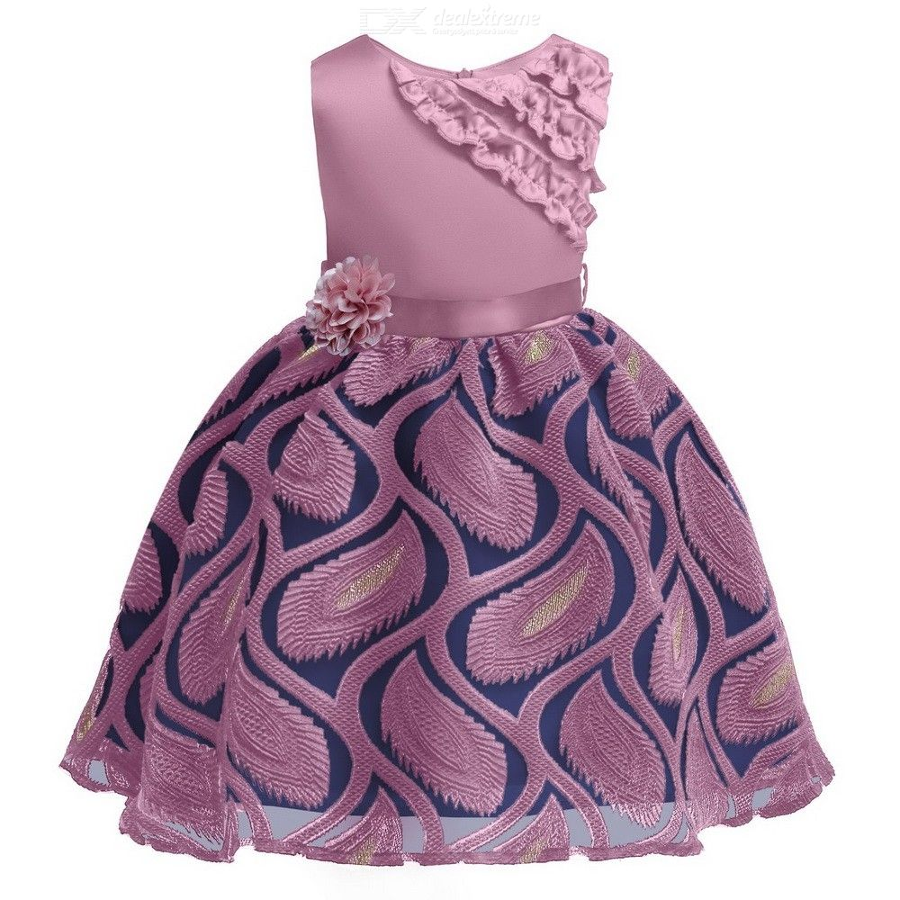 Formal Dress Wedding Princess Dresses With Ruffles Bow Flower Decoration For Girls Aged 3-12