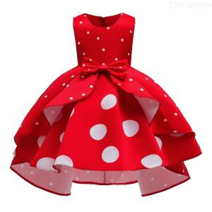 Formal Dress Wedding Princess Dresses Retro Polka Dot High-low Midi Dress With Bow For Girls Aged 3-10