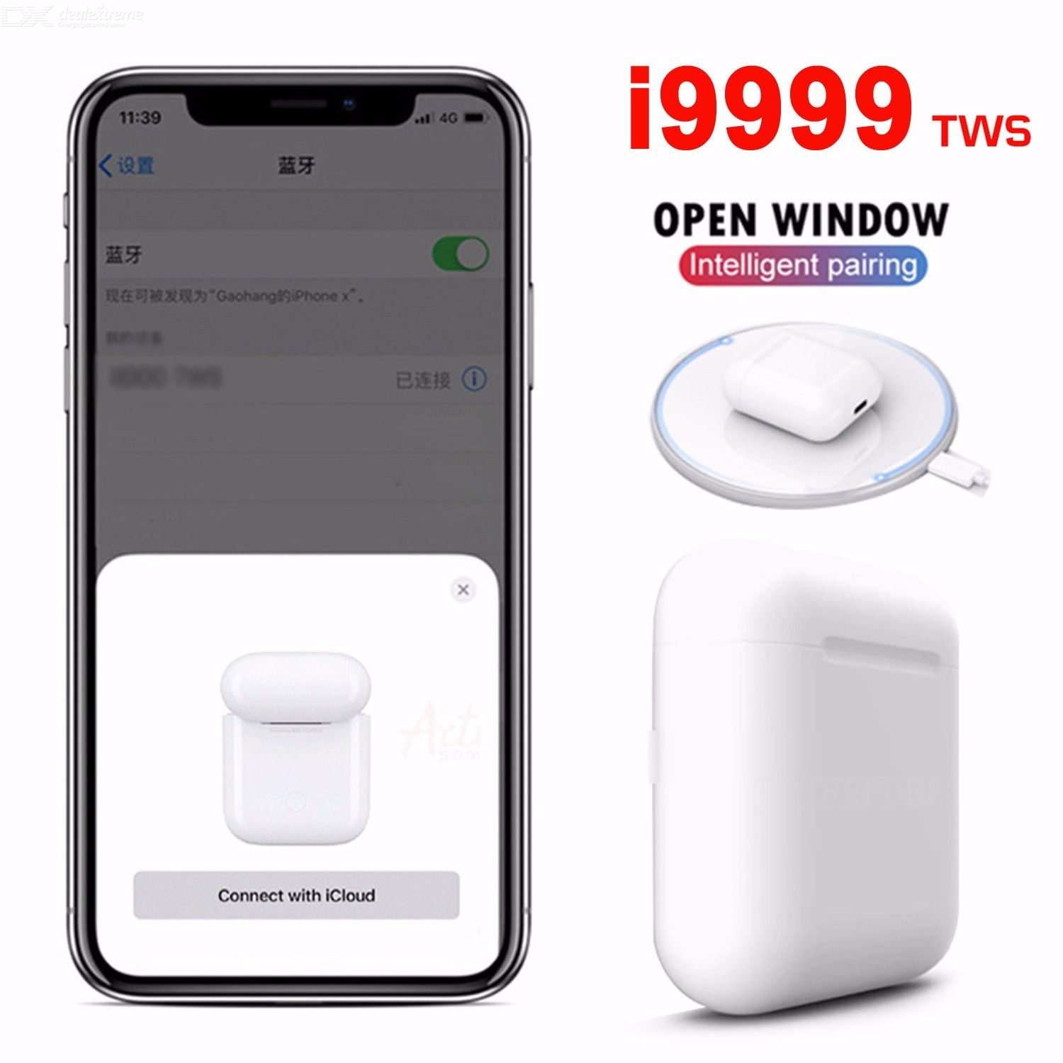 i9999 TWS Bluetooth 5.0 Wireless Earphone Pop-Up 6D Stereo Earbuds Headset with Charging Box Support SIRI for Phone