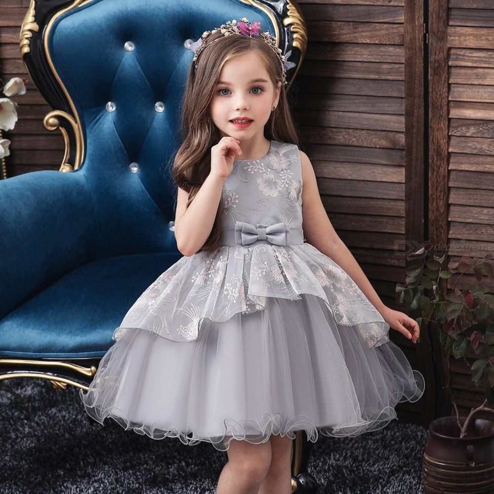 Formal Dress Wedding Princess Dresses With Bow For Girls Aged 12 Months - 5 Years