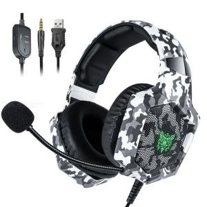 ONIKUMA K8 Camou Wired Gaming Headphone RGB Backlit Over-ear Headset For PC Laptop Xbox One