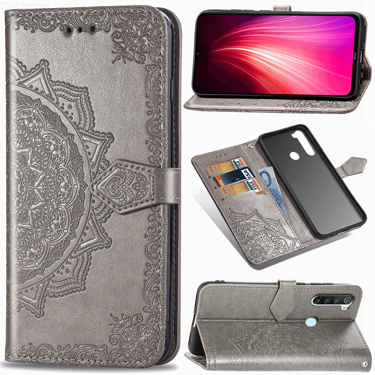 Leather Phone Wallet Case, Flower Pattern Folio Flip Cover For Xiaomi Redmi 6/6A/6 Pro/Note 6/Note 6 Pro