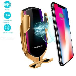 Smart Sensor Wireless Car Charger Mount, Automatic Clamping QC/QI 10W Fast Charging Car Charger Holder for iPhone Huawei Samsung