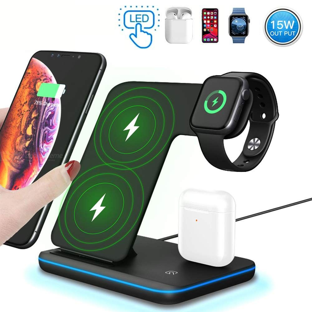 Dealextreme / Olygus 3 in 1 15W Qi Wireless Charger For iPhone 11 XS XR X 8 Samsung S10 S9, Fast Charging Stand For Apple Airpods Watch 5 4 3
