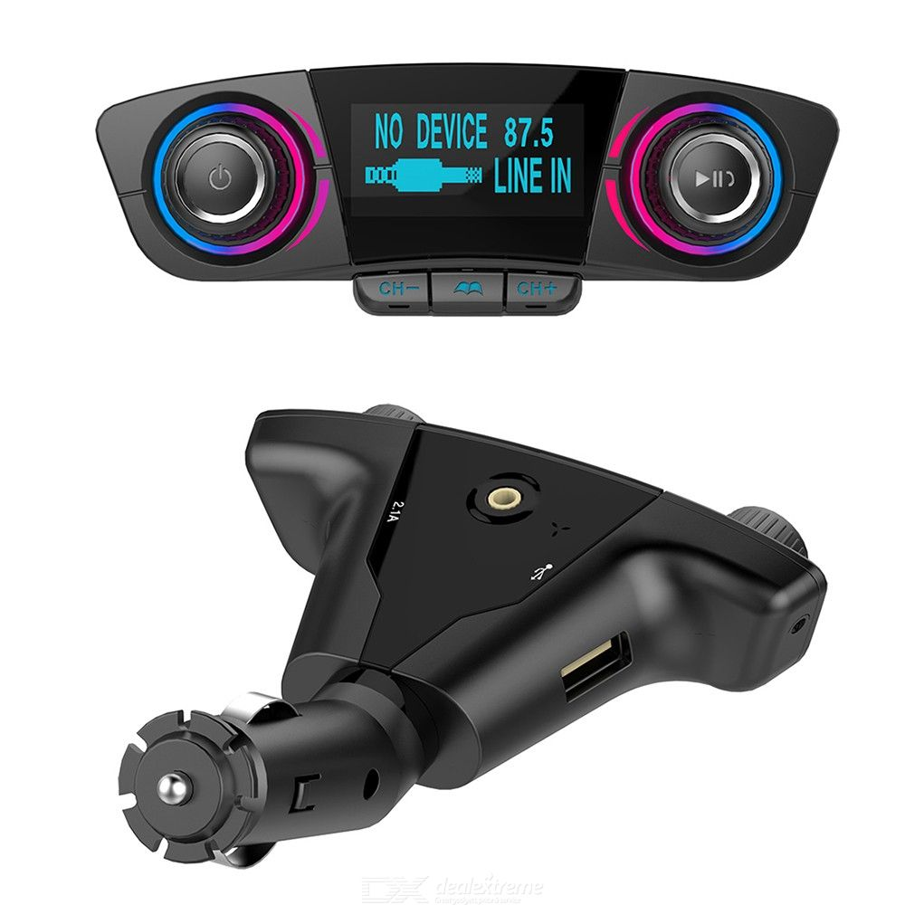 Dual-Head Large Screen Display Car Bluetooth Hands-Free MP3 Player Quick Charger, Support TF Card USB Flash Drive
