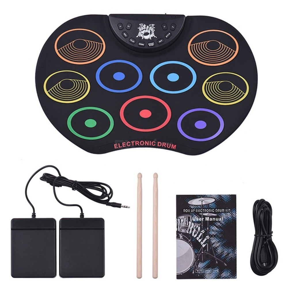 Compact Size Roll Up Drum Set Electronic Drum Kit 9 Silicon Drum Pads USB/Battery Powered With Drumsticks Foot Pedals For Kids