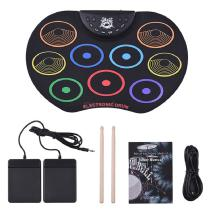 Compact-Size-Roll-Up-Drum-Set-Electronic-Drum-Kit-9-Silicon-Drum-Pads-USBBattery-Powered-With-Drumsticks-Foot-Pedals-For-Kids