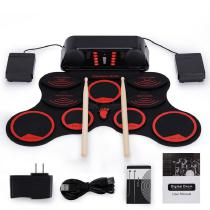 Portable-Roll-Up-Electronic-Drum-Set-9-Silicon-Pads-Built-in-Speakers-With-Drumsticks-Sustain-Pedal-Support-USB-MIDI