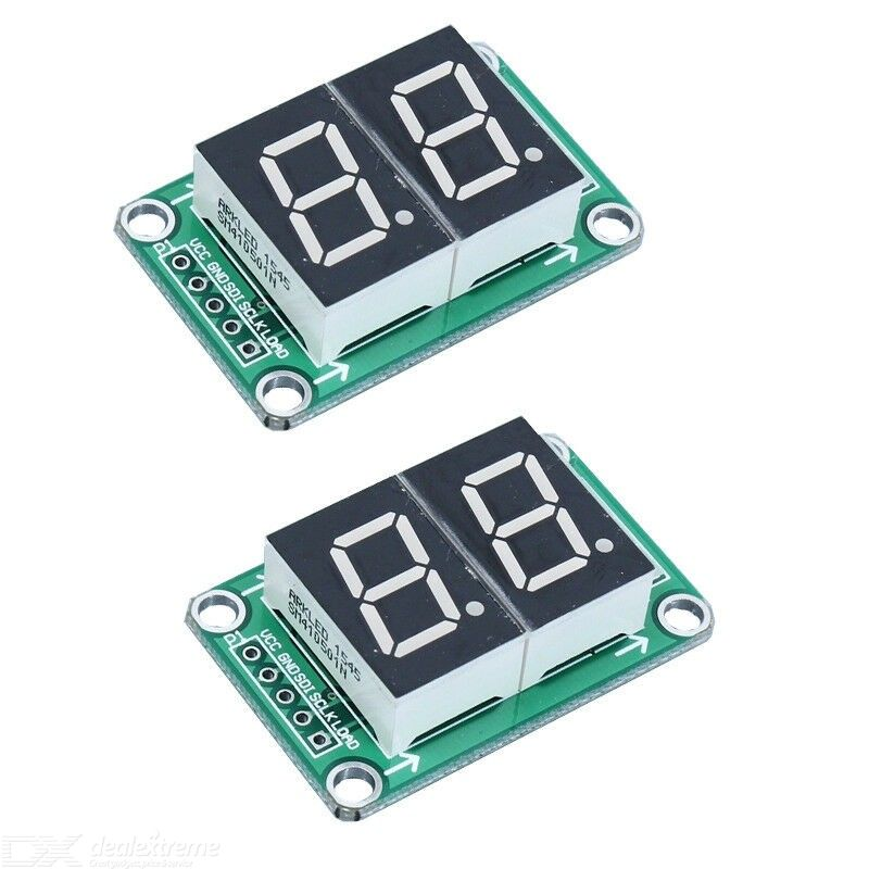 74HC595 Static Driving 2 Segment Digital Display Module Seamless Can Series 0.5-inch 2-Bright Red