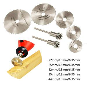 5PCS Saw Blades + 2PCS 6mm Connecting Rods High Speed Steel Cutting Blade for Wood Plastic Copper Aluminum Iron Metal