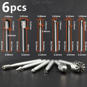 6pcs High Speed Steel Cemented Carbide Rotary File Woodworking Carving Milling Cutter