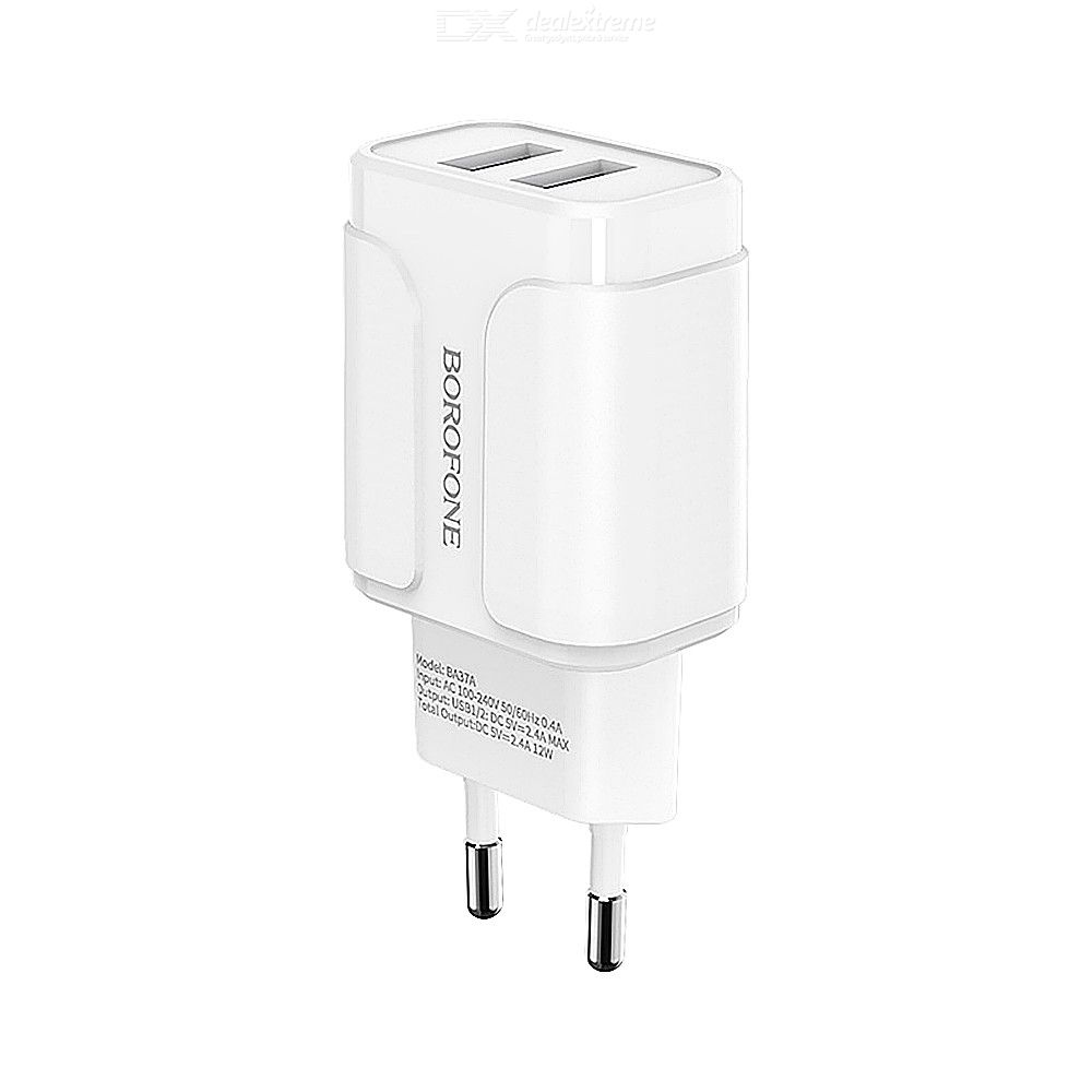 Borofone BA37A Dual USB Wall Charger, 2 USB Power Adapter For Home Office Travel Use