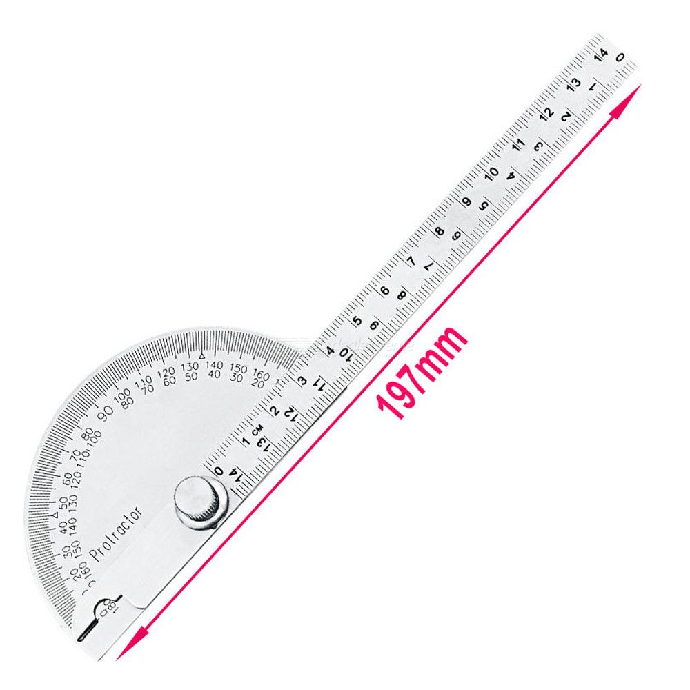Dx coupon: 0-180 Degree 14.5cm Stainless Steel Protractor Angle Ruler