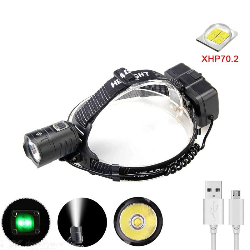 F-T129 XHP70.2 Aluminum Alloy USB Charging Headlamp Outdoor Power Display LED Headlight