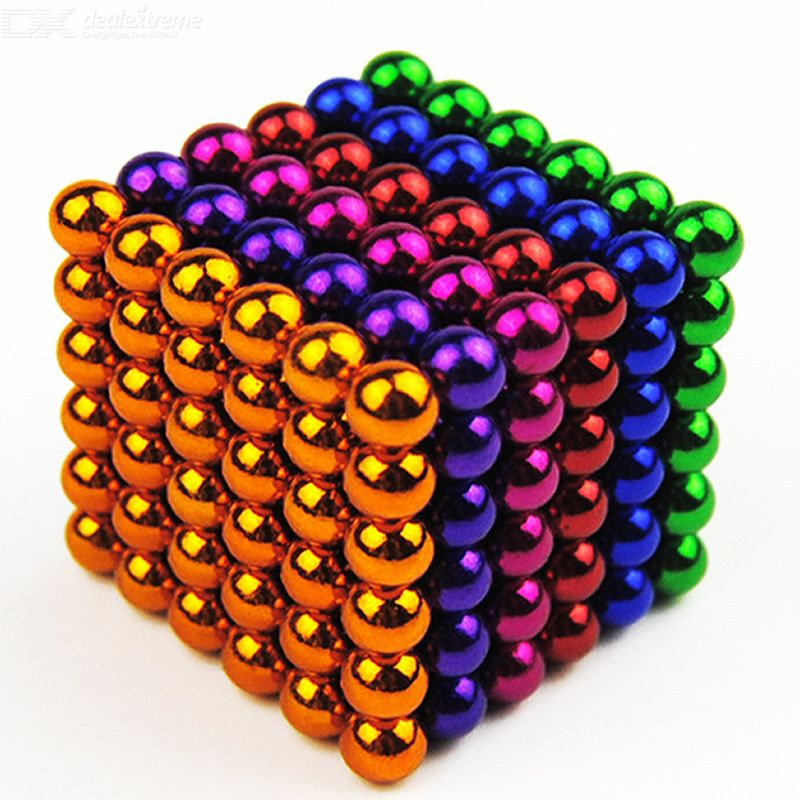 216Pcs/set 5mm Colorful Magnetic Balls Creative Building Block Puzzle Toy - 6 Color Random