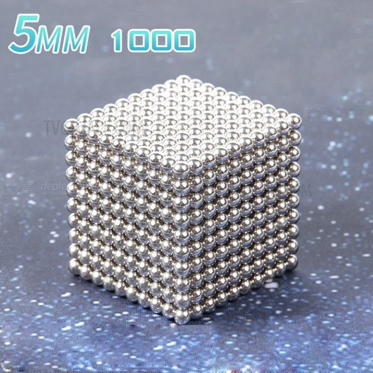 1000PCS 5mm Magnetic Ball Building Block Creative Magnet Toy Puzzle Balls - Silver