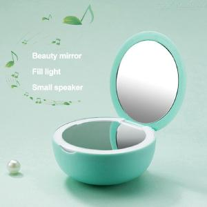 Creative Bluetooth Makeup Mirror Speaker with LED Fill Light for Travel