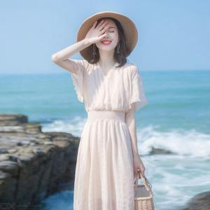 Female Sweet Long Dress Casual Solid Color Womens Clothing