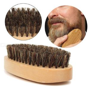 Beard Brush For Men Boar Bristles Brush With Wooden Handle