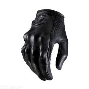 Mens Touch Screen Leather Motorcycle Gloves, Full Finger Riding Gloves For Outdoors