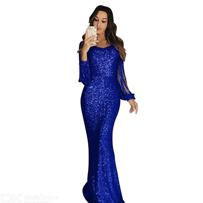 Dealextreme / Womens Tassels Sleeve Long Evening Dress For Party Wedding
