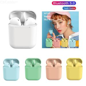 I12 Bluetooth 5.0 Wireless Earphones Macarons TWS HiFi Stereo Touch Control Earbuds Mini Sport Headphones With Mic Charging Case